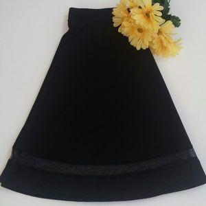 Faith and Joy Midi Flared Skirt Black 1x Mesh Hem